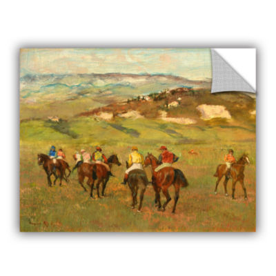 Brushstone Jockeys on Horseback Before Distant Hills Removable Wall Decal