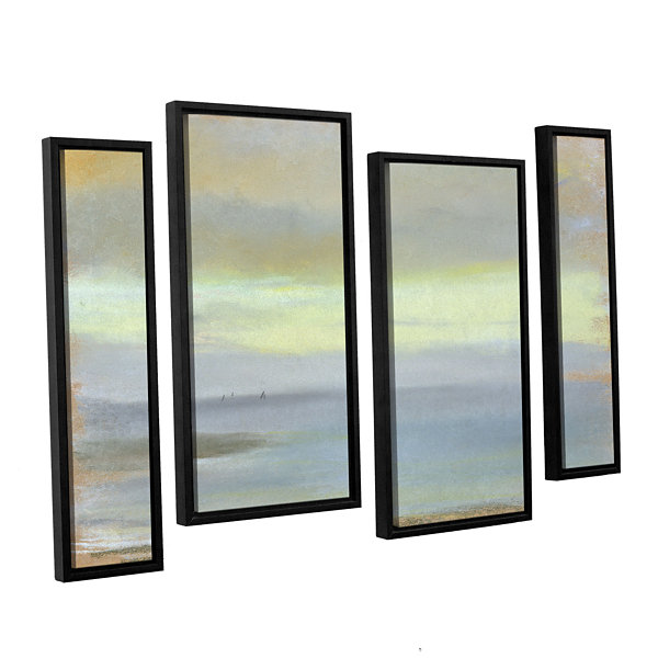 Brushstone Marine Sunset 4-pc. Floater Framed Staggered Canvas Wall Art