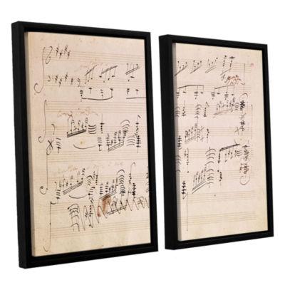 Brushstone Score Sheet of 'Moonlight Sonata' 2-pc.Floater Framed Canvas Wall Art