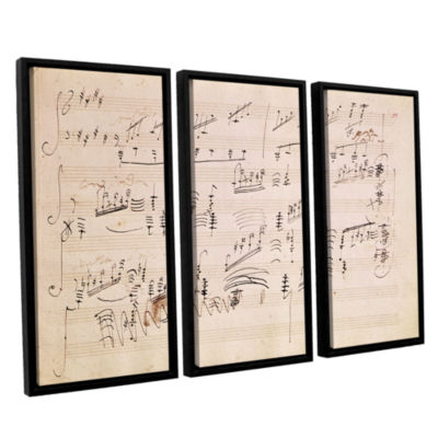 Brushstone Score Sheet of 'Moonlight Sonata' 3-pc.Floater Framed Canvas Wall Art