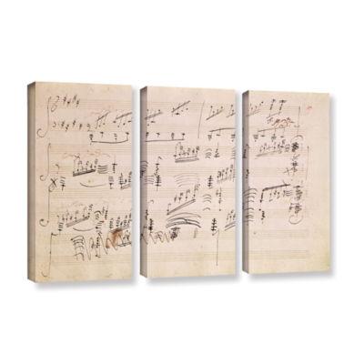 Brushstone Score Sheet of 'Moonlight Sonata' 3-pc.Gallery Wrapped Canvas Wall Art