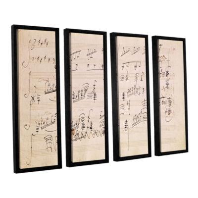 Brushstone Score Sheet of 'Moonlight Sonata' 4-pc.Floater Framed Canvas Wall Art