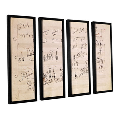 Brushstone Score Sheet of 'Moonlight Sonata' 4-pc.Floater Framed Canvas Wall Art