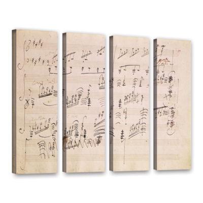 Brushstone Score Sheet of 'Moonlight Sonata' 4-pc.Gallery Wrapped Canvas Wall Art