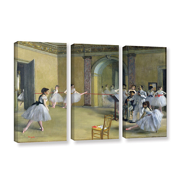 Brushstone The Dance Foyer at The Opera on The RueLe Peletier 3-pc. Gallery Wrapped Canvas Wall Art