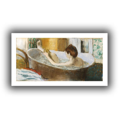 Brushstone Woman in Her Bath  Sponging Her Leg Canvas Wall Art