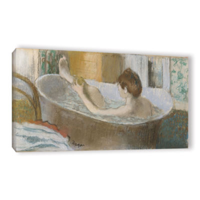 Brushstone Woman in Her Bath  Sponging Her Leg Gallery Wrapped Canvas Wall Art