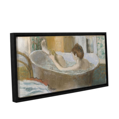 Brushstone Woman in Her Bath; Sponging Her Leg Gallery Wrapped Floater-Framed Canvas Wall Art