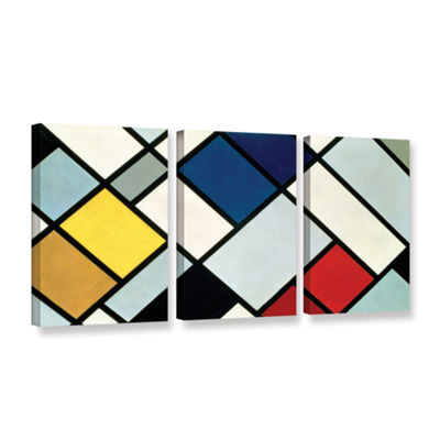Brushstone Contra-Composition of Dissonances 3-pc.Gallery Wrapped Canvas Wall Art