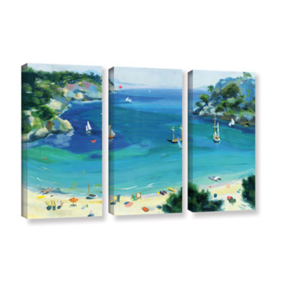 Brushstone Cala Galdana  Minorca 3-pc. Gallery Wrapped Canvas Wall Art