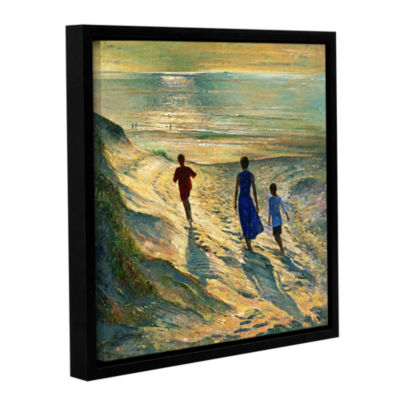 Brushstone Beach Walk Gallery Wrapped Floater-Framed Canvas Wall Art