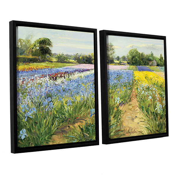 Brushstone Floral Chessboard 2-pc. Floater FramedCanvas Wall Art