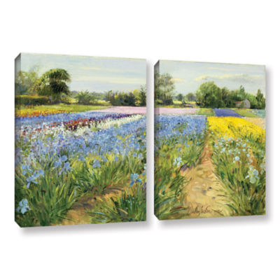 Brushstone Floral Chessboard 2-pc. Gallery WrappedCanvas Wall Art