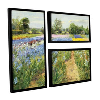 Brushstone Floral Chessboard 3-pc. Flag Floater Framed Canvas Wall Art