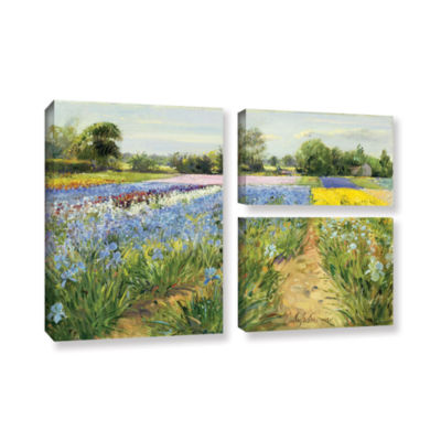 Brushstone Floral Chessboard 3-pc. Flag Gallery Wrapped Canvas Wall Art
