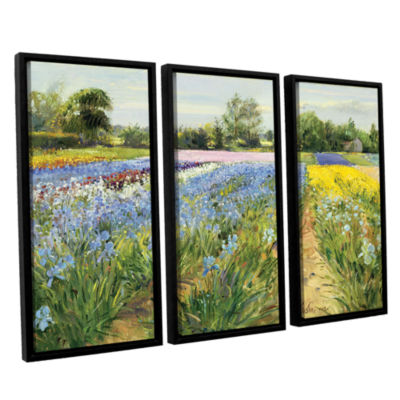 Brushstone Floral Chessboard 3-pc. Floater FramedCanvas Wall Art