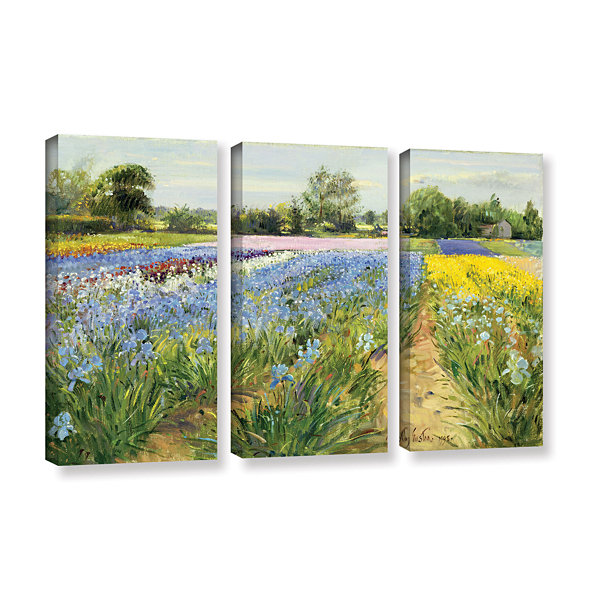 Brushstone Floral Chessboard 3-pc. Gallery WrappedCanvas Wall Art