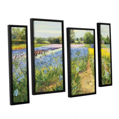 Brushstone Floral Chessboard 4-pc. Floater FramedStaggered Canvas Wall Art