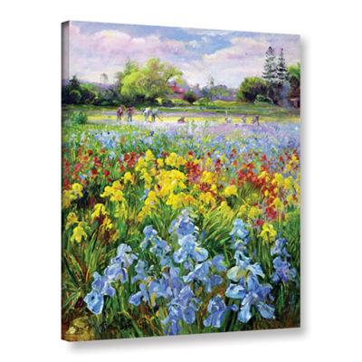Brushstone Hoeing Team and Iris Fields Gallery Wrapped Canvas Wall Art