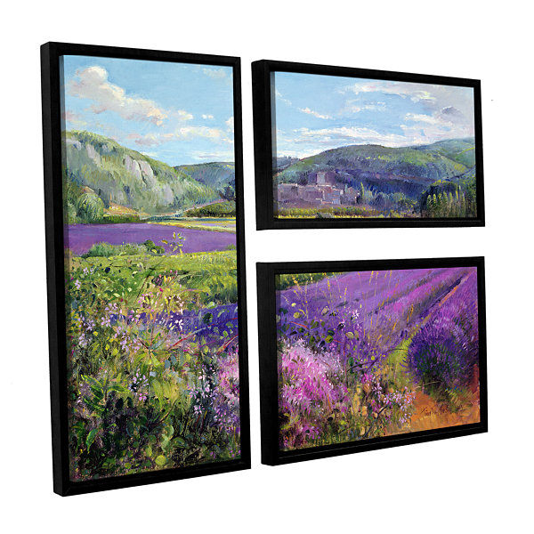Brushstone Lavender Fields in Old Provence 3-pc. Flag Floater Framed Canvas Wall Art