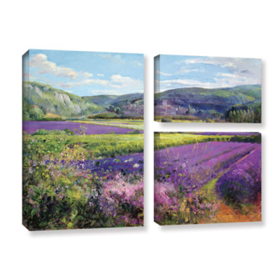 Brushstone Lavender Fields in Old Provence 3-pc. Flag Gallery Wrapped Canvas Wall Art