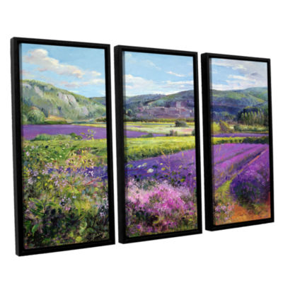 Brushstone Lavender Fields in Old Provence 3-pc. Floater Framed Canvas Wall Art