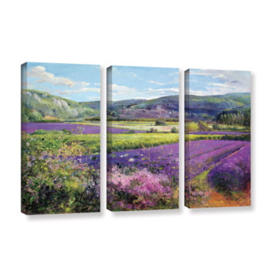 Brushstone Lavender Fields in Old Provence 3-pc. Gallery Wrapped Canvas Wall Art