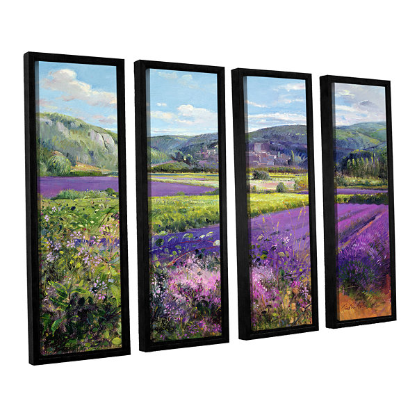 Brushstone Lavender Fields in Old Provence 4-pc. Floater Framed Canvas Wall Art