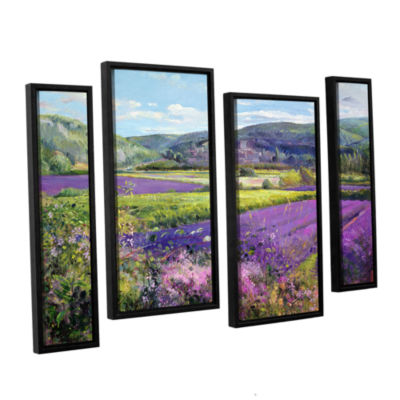 Brushstone Lavender Fields in Old Provence 4-pc. Floater Framed Staggered Canvas Wall Art