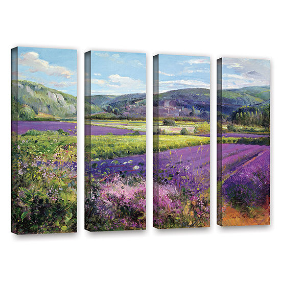 Brushstone Lavender Fields in Old Provence 4-pc. Gallery Wrapped Canvas Wall Art