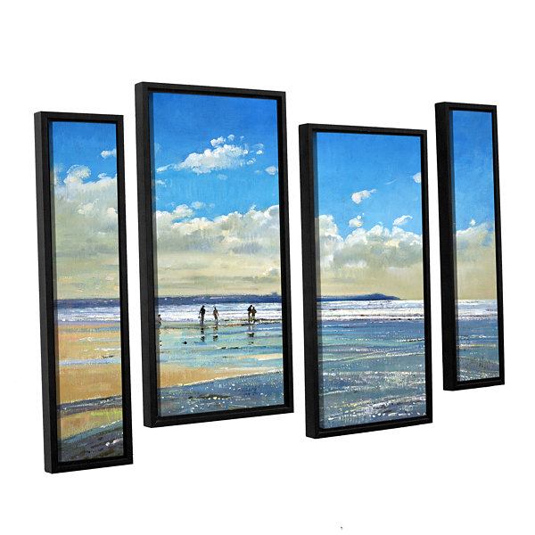 Brushstone Paddling at The Edge 4-pc. Floater Framed Staggered Canvas Wall Art