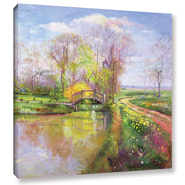 Brushstone Spring Bridge Gallery Wrapped Canvas Wall Art