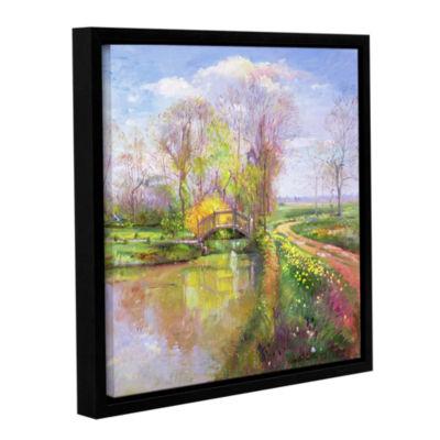 Brushstone Spring Bridge Gallery Wrapped Floater-Framed Canvas Wall Art