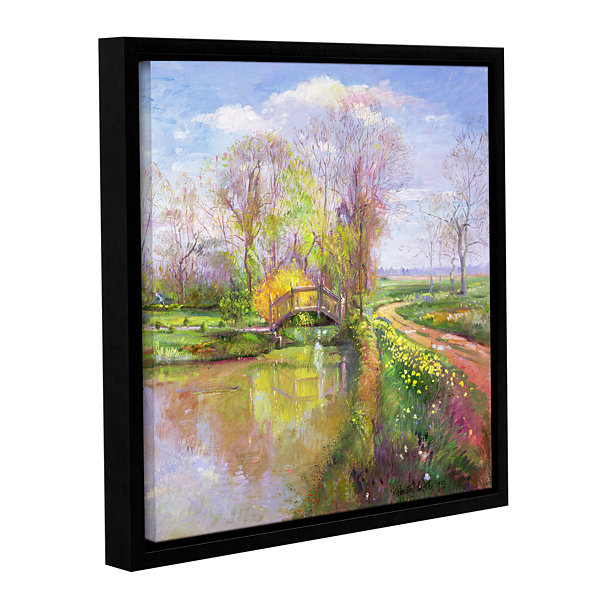 Brushstone Spring Bridge Gallery Wrapped Floater-Framed Canvas Wall Art