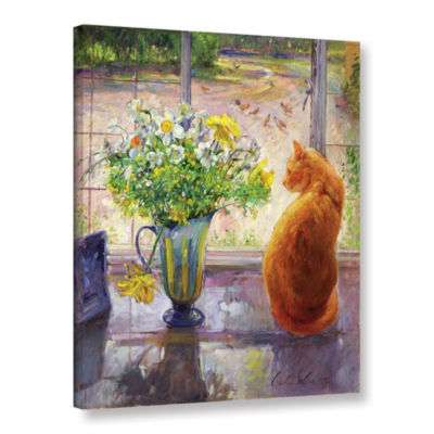 Brushstone Strped Jug with Spring Flowers GalleryWrapped Canvas Wall Art