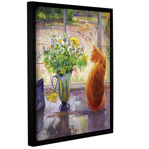 Brushstone Strped Jug with Spring Flowers GalleryWrapped Floater-Framed Canvas Wall Art
