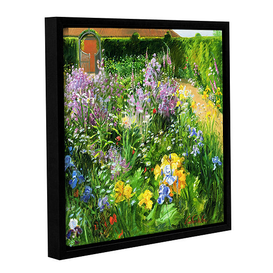 Brushstone Sweet Rocket Foxgloves And Irises Gallery Wrapped Floater Framed Canvas Wall Art