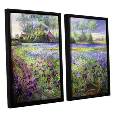 Brushstone Trackway Past The Iris Field 2-pc. Floater Framed Canvas Wall Art