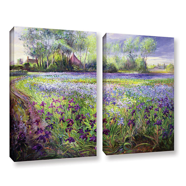 Brushstone Trackway Past The Iris Field 2-pc. Gallery Wrapped Canvas Wall Art