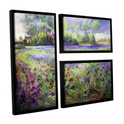 Brushstone Trackway Past The Iris Field 3-pc. FlagFloater Framed Canvas Wall Art