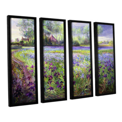 Brushstone Trackway Past The Iris Field 4-pc. Floater Framed Canvas Wall Art