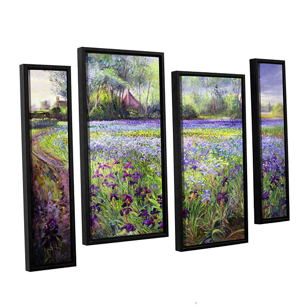 Brushstone Trackway Past The Iris Field 4-pc. Floater Framed Staggered Canvas Wall Art
