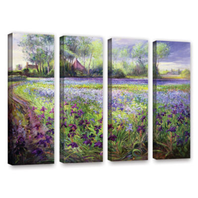 Brushstone Trackway Past The Iris Field 4-pc. Gallery Wrapped Canvas Wall Art