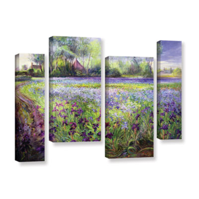 Brushstone Trackway Past The Iris Field 4-pc. Gallery Wrapped Staggered Canvas Wall Art