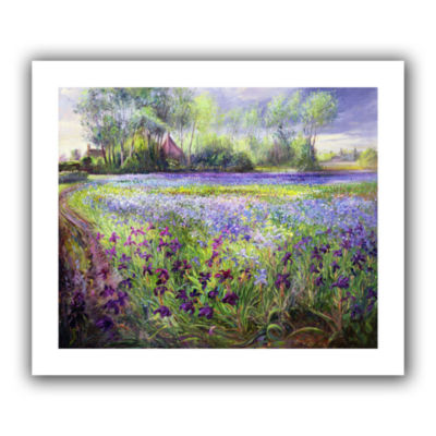 Brushstone Trackway Past The Iris Field Canvas Wall Art
