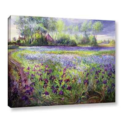 Brushstone Trackway Past The Iris Field Gallery Wrapped Canvas Wall Art