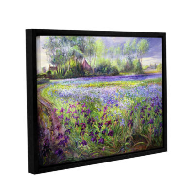 Brushstone Trackway Past The Iris Field Gallery Wrapped Floater-Framed Canvas Wall Art