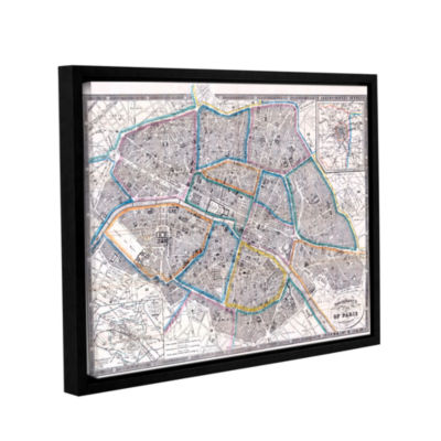 Brushstone Antique Map of Paris  1865 Gallery Wrapped Floater-Framed Canvas Wall Art