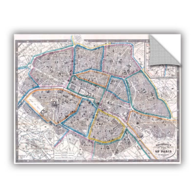 Brushstone Antique Map of Paris  1865 Removable Wall Decal