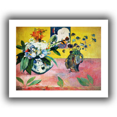 Brushstone Flowers and a Japanese Print Canvas Wall Art
